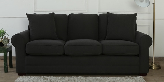 Madeira Three Seater Sofa in Charcoal Grey Colour by CasaCraft
