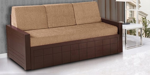 Buy Madelyn Sofa Cum Bed In Brown Colour By Auspicious