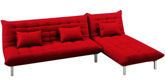 Madison L Shaped Sofa Bed In Red Colour By Furny