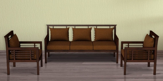 Buy Madison Teak Wood Sofa Set 3 1 1 In Mahogany Finish By