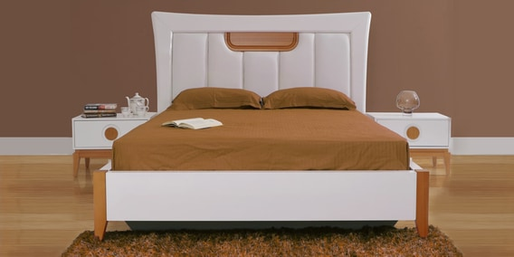 Malta King Size Bed With Hydraulic Storage In White Brown Finish By Evok