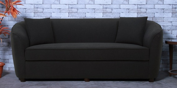 Mamore Three Seater Sofa in Charcoal Grey Color by CasaCraft