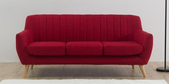 Managua Three Seater Sofa in Red Colour by CasaCraft