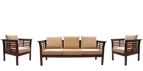 e5523df9df Buy Mariana Teak Wood Sofa Set (3 Seater + 1 Seater + 1 Seater) in ...