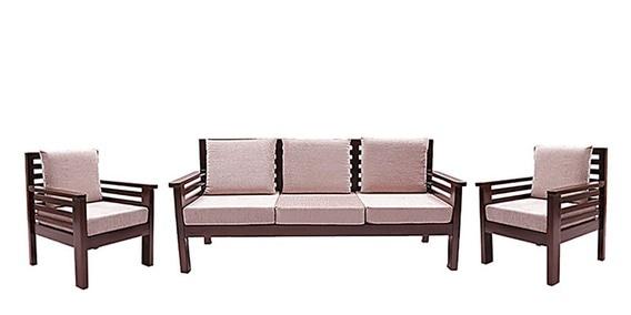 Mariana Teak Wood Sofa Set (3 + 1 + 1) Seater In Fresh Walnut