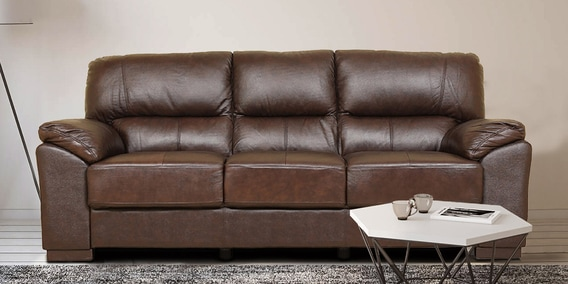 Buy Martin Leather Three Seater Sofa In Brown Colour By Hometown