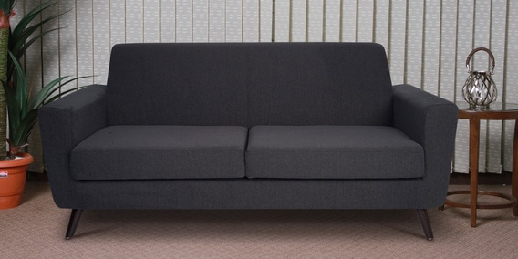 Martina Three Seater Sofa In Charcoal Grey Colour By CasaCraft