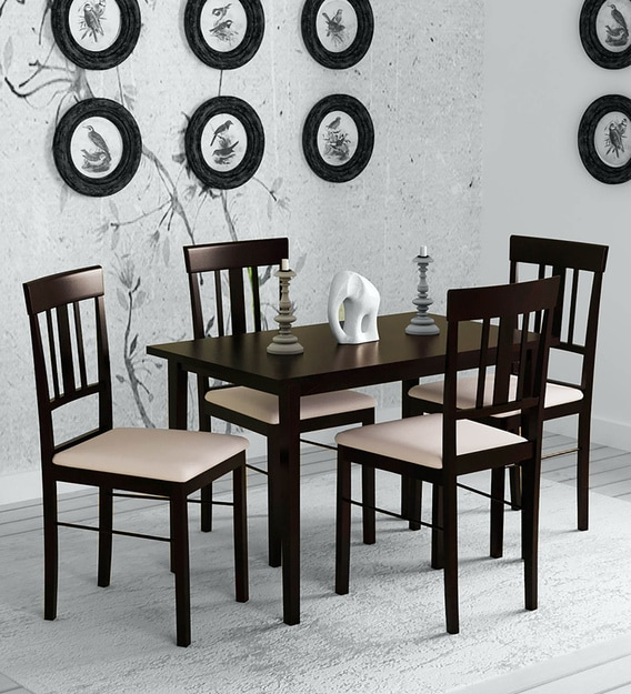 Buy Mariko 4 Seater Dining Set In Wenge Finish By Mintwud Online Modern 4 Seater Dining Sets Dining Furniture Pepperfry Product