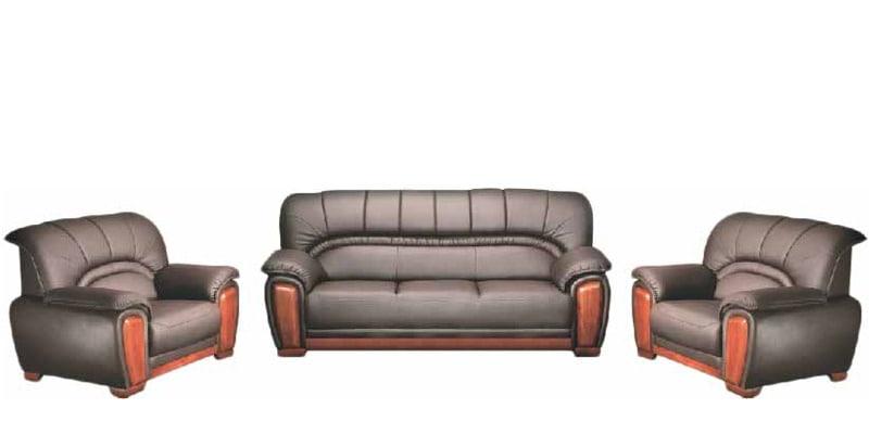 Manhattan Sofa Set in Brown Colour by Godrej Interio by Godrej