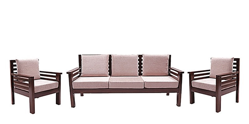 Mariana Teak Wood Sofa Set 3 1 Seater In Fresh Walnut Finish By Finesse