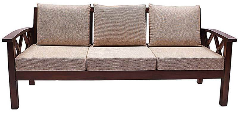 Incredible Mariana Teak Wood Three Seater Sofa In Fresh Walnut Finish By Finesse Evergreenethics Interior Chair Design Evergreenethicsorg