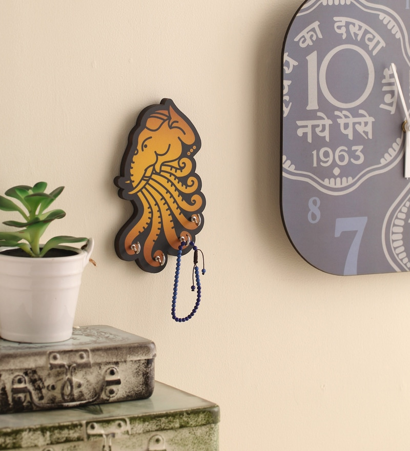 Multicolour MDF Airavat Key Holder by Mad(e) in India
