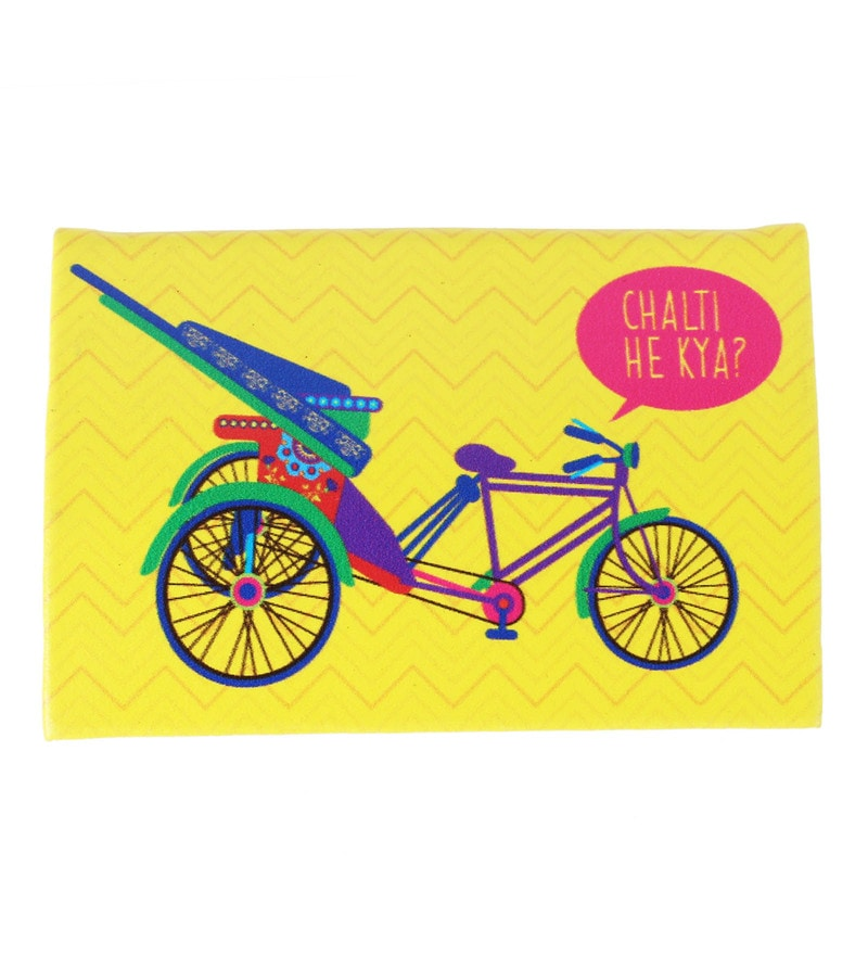 Mad in India Delhi Cycle Rickshaw PU & Stainless Steel Visiting Card Holder