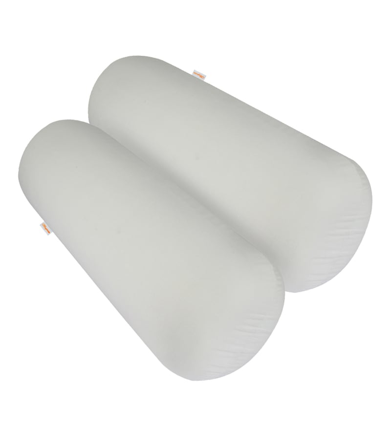 White Memory Foam 24 x 8 Inch Round Big Bolster Insert - Set of 2 by Magasin