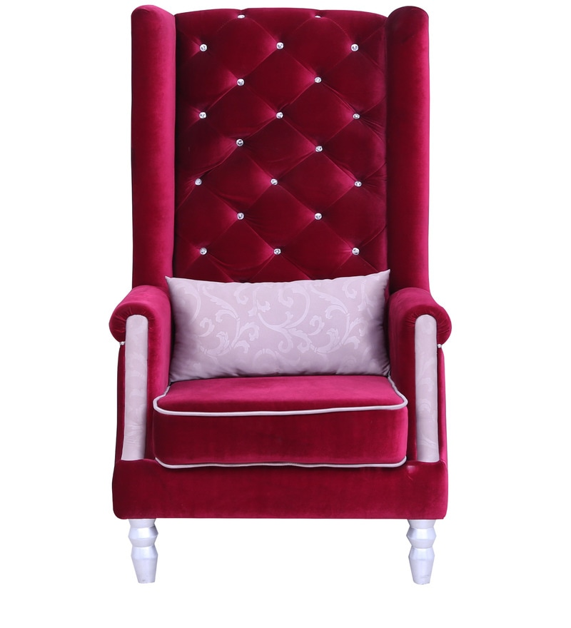 Buy Maharaja Chair with Diamond Studs in Maroon Colour by ...