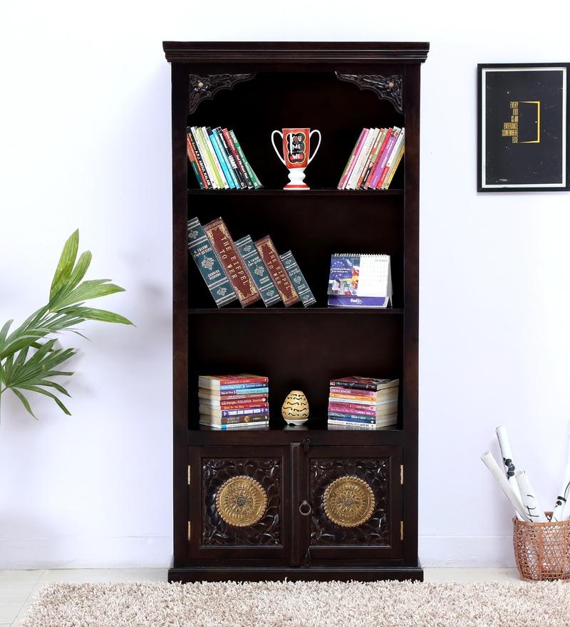 Malava Book Shelf with Brass Repousse Work in Warm chestnut Finish by Mudramark
