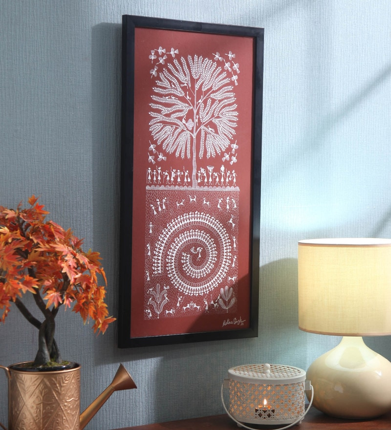 Red Canvas Birds on The Tree Framed Warli Painting by Manomay Kreations