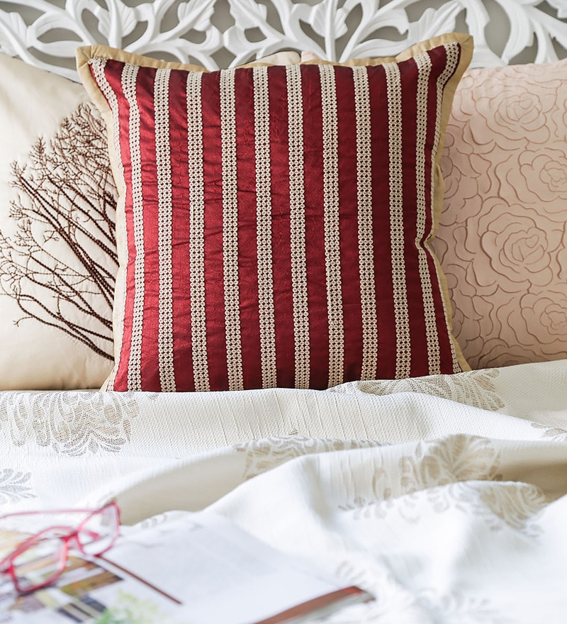 Maroon & Cream Duppioni 16 x 16 Inch Sequined Work Striped Cushion Cover by Mapa Home Care