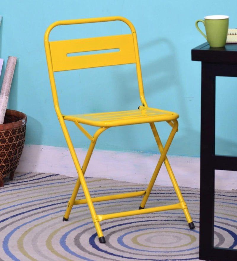 Marandoo Grunge Outdoor Folding Chair in Yellow Colour by Bohemiana