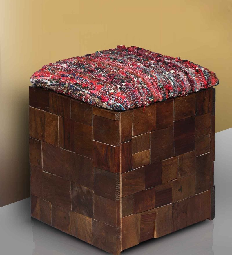 Marbella Storage Pouffe in Provincial Teak Finish by Woodsworth