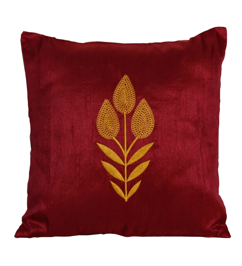 12 x 12 Inch Maroon Polyester Cushion Cover by Marigold