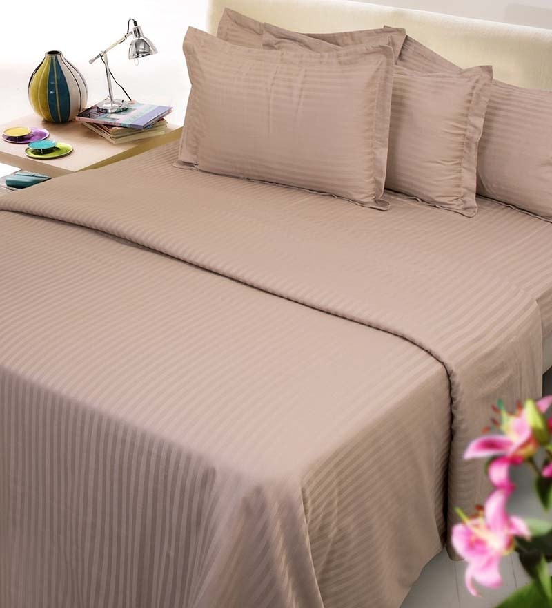 Beige Solids Cotton King Size Bed Sheets - Set of 3 by Mark Home