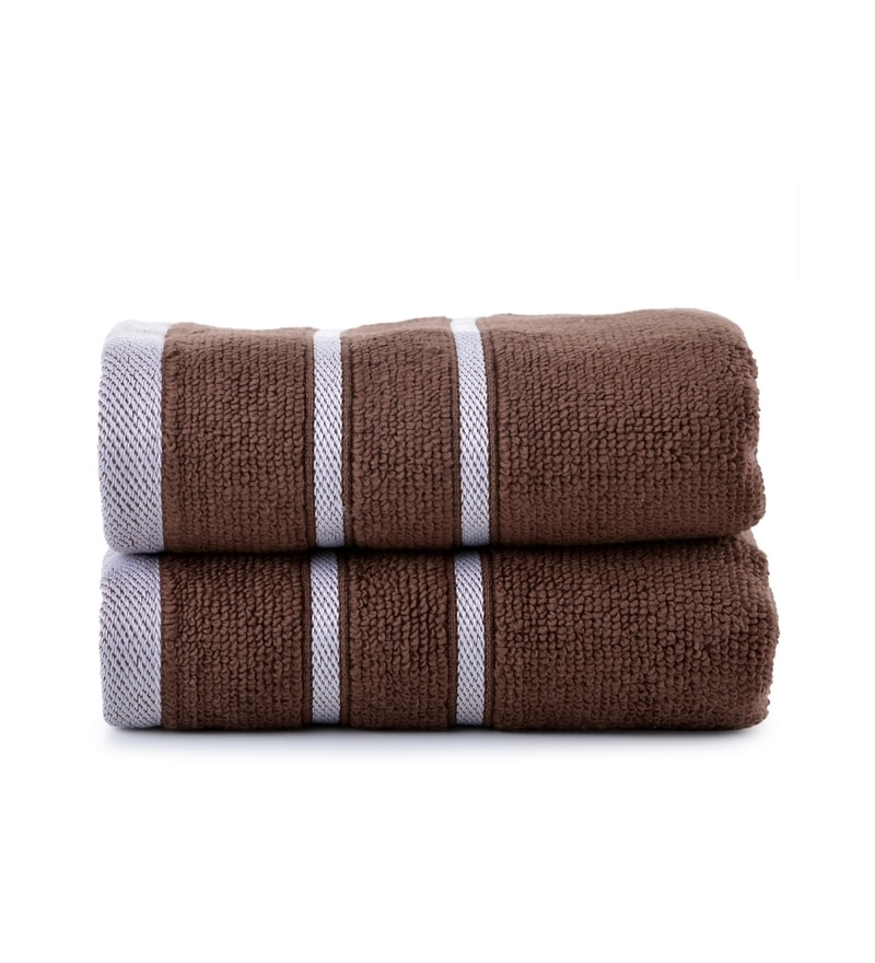 Brown Cotton Simply Soft 16 x 24 Hand Towel - Set of 2 by Mark Home