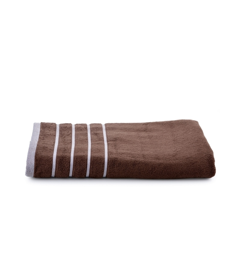 Brown Cotton Simply Soft 28 x 59 Bath Towel by Mark Home