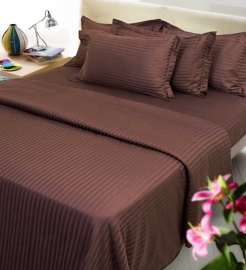 Brown Solids Cotton Queen Size Fitted Bed Sheet Set - Set of 3 by Mark Home