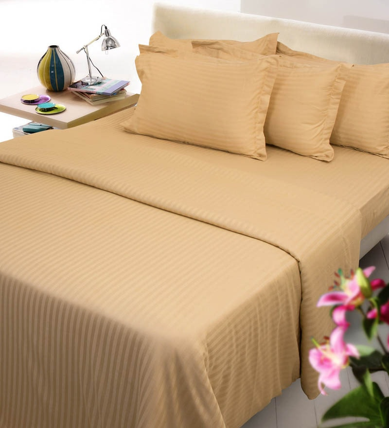 Gold Solids Cotton King Size Bed Sheets - Set of 3 by Mark Home