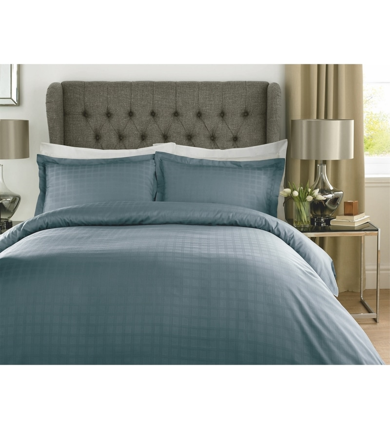 Blue Checks Cotton Single Size Duvet Cover 1 Pc by Mark Home