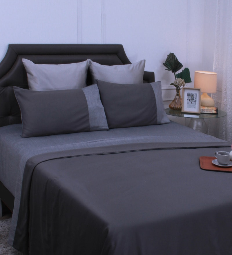 Grey Reversible King Size Bedding Set - 6 Pieces by Mark Home