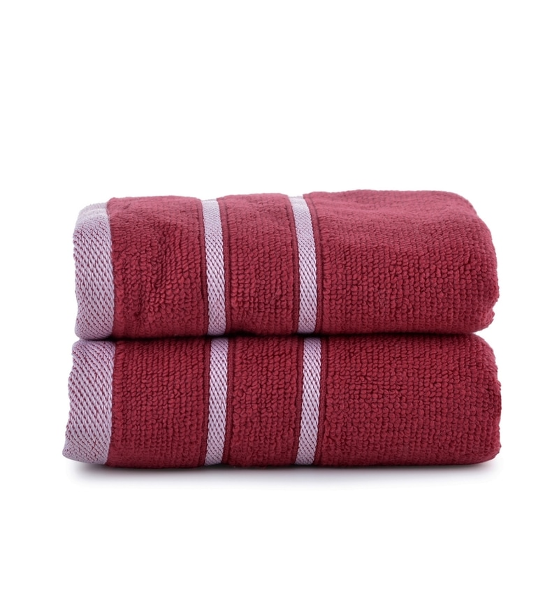Maroon Cotton Simply Soft 16 x 24 Hand Towel - Set of 2 by Mark Home