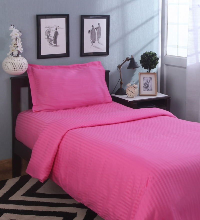 Shocking Pink Solids Cotton Single Size Duvet Covers - 1 Pc by Mark Home