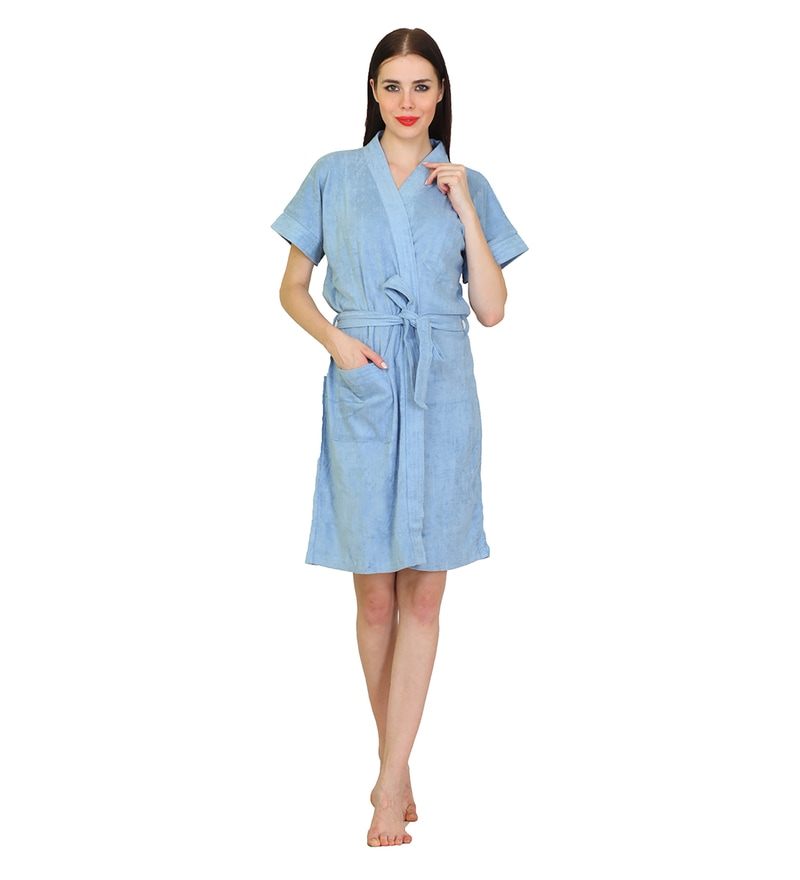 Sky Blue Cotton M Size Bath Robe by Mark Home