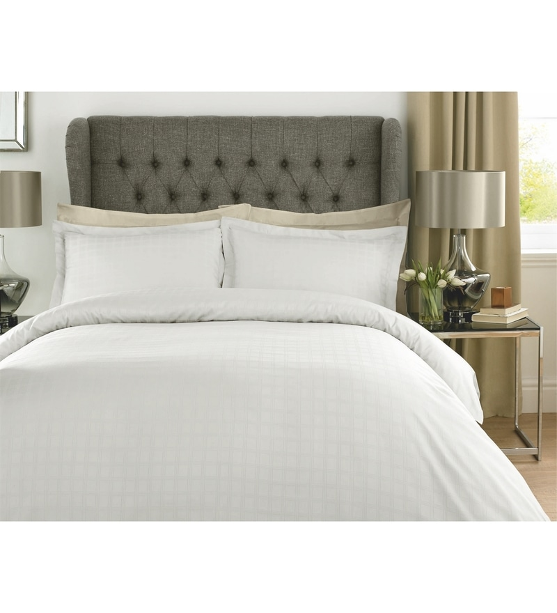 White Checks Cotton King Size Bed Sheet - Set of 3 by Mark Home