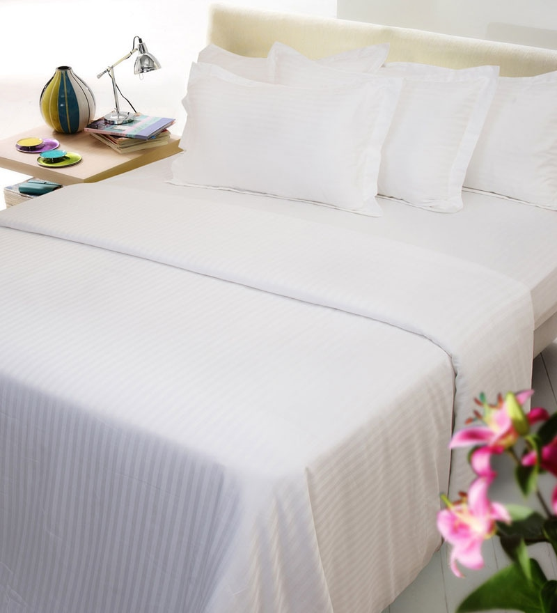 White Solids Cotton Single Size Bed Sheets - Set of 4 by Mark Home