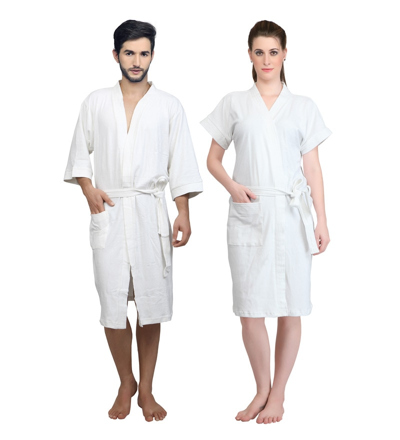 White Terry Cotton Bath Robe - Set of 2 by Mark Home