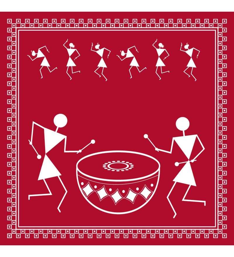 Buy Maroon Amp White Cotton Canvas Warli Tribal Art Print By