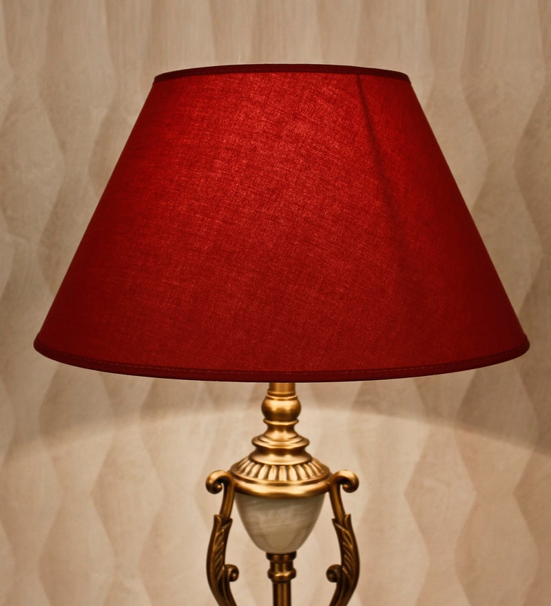 Maroon Cotton Empire Lamp Shade by Kapoor E Illuminations
