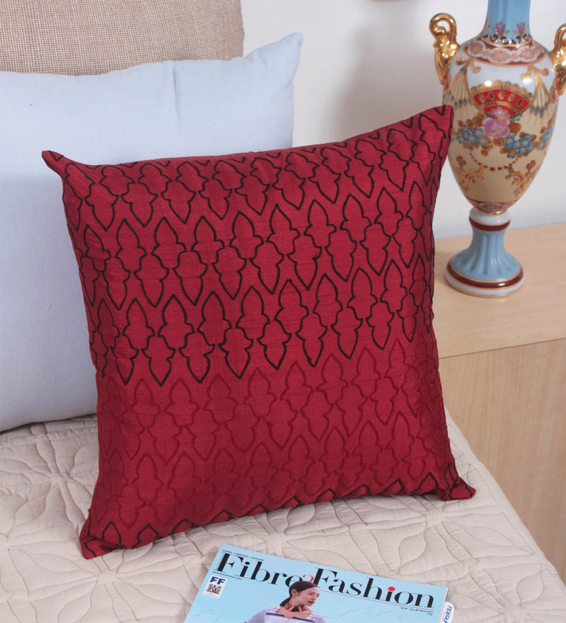 Maroon Polyester 16 x 16 Inch Cushion Cover by Vista Home Fashion