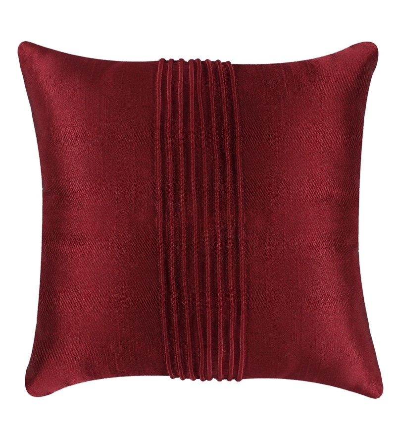 Maroon Polyester 16x16 Inch Cushion Cover by Vista Home Fashion