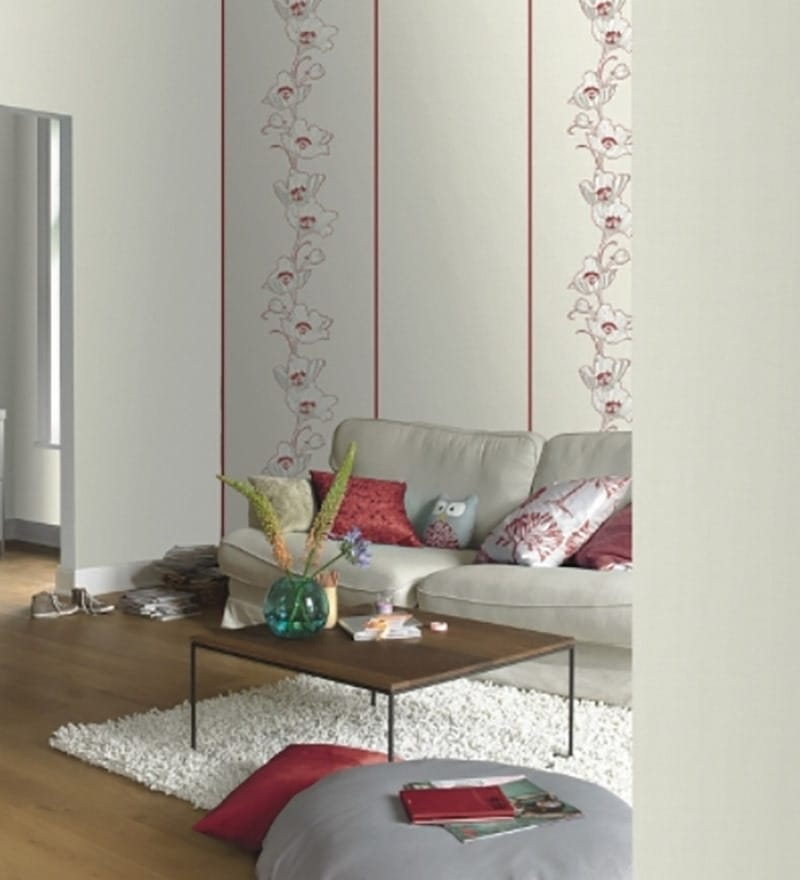 Red Non Woven Fabric Floral Wallpaper by Marshalls WallCoverings