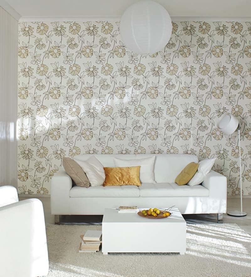 Vine White Non Woven Fabric Durable Wallpaper by Marshalls WallCoverings