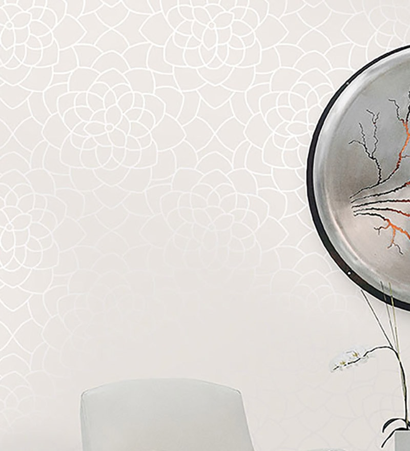 White Paper Floral Wallpaper by Marshalls WallCoverings