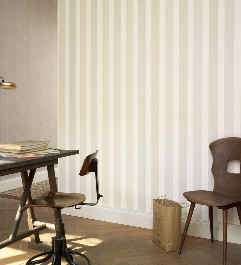 Beige Non Woven Fabric Stripes Wallpaper by Marshalls WallCoverings