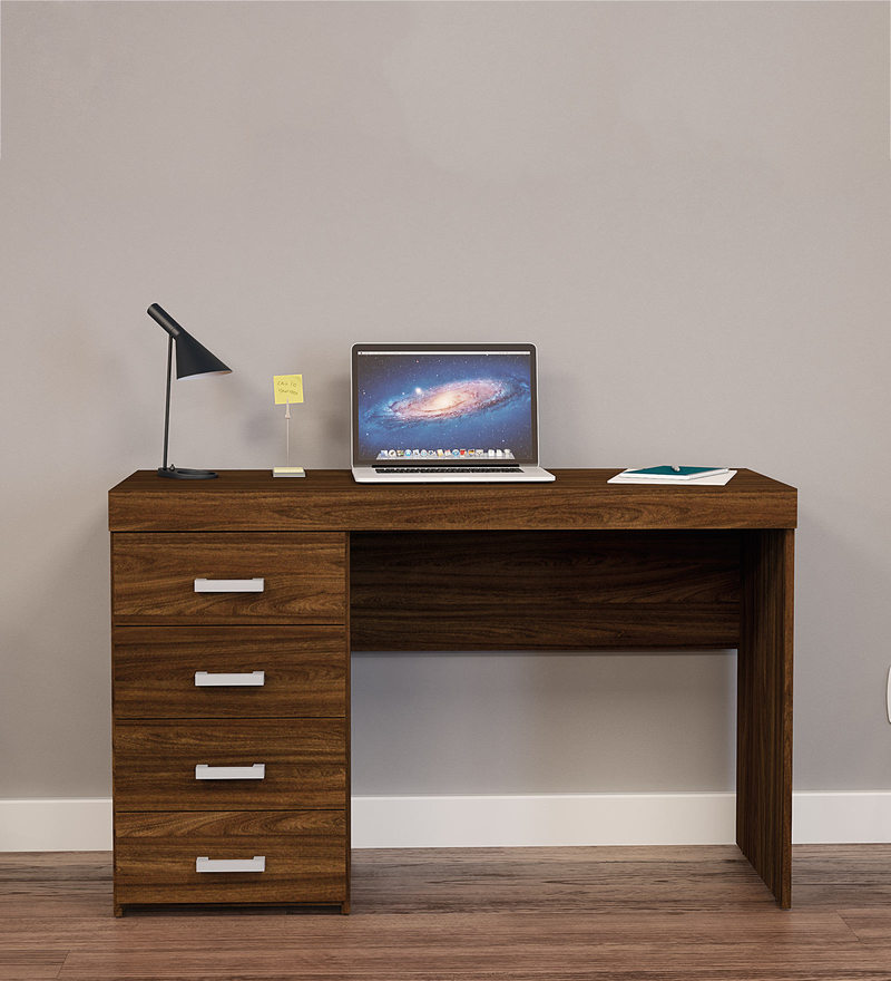 Buy Masaki Study Table with 4 Drawers in Walnut Brown ...