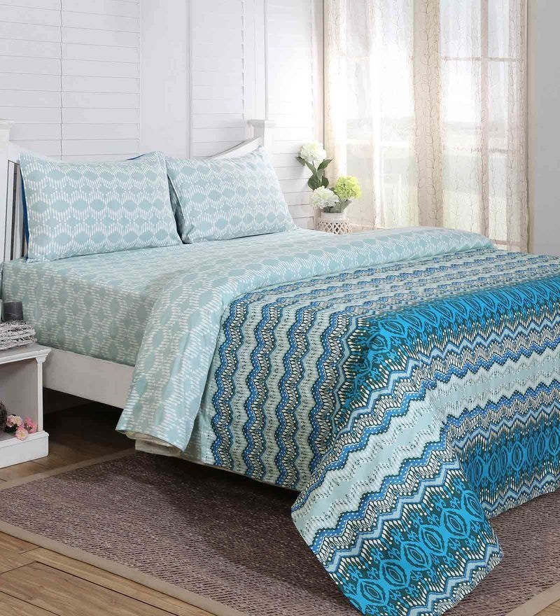 Maspar Blue 100% Cotton 108 x 90 Inch Carnival Prime Double Bed Sheet with 2 Pillow Covers - Set of 3