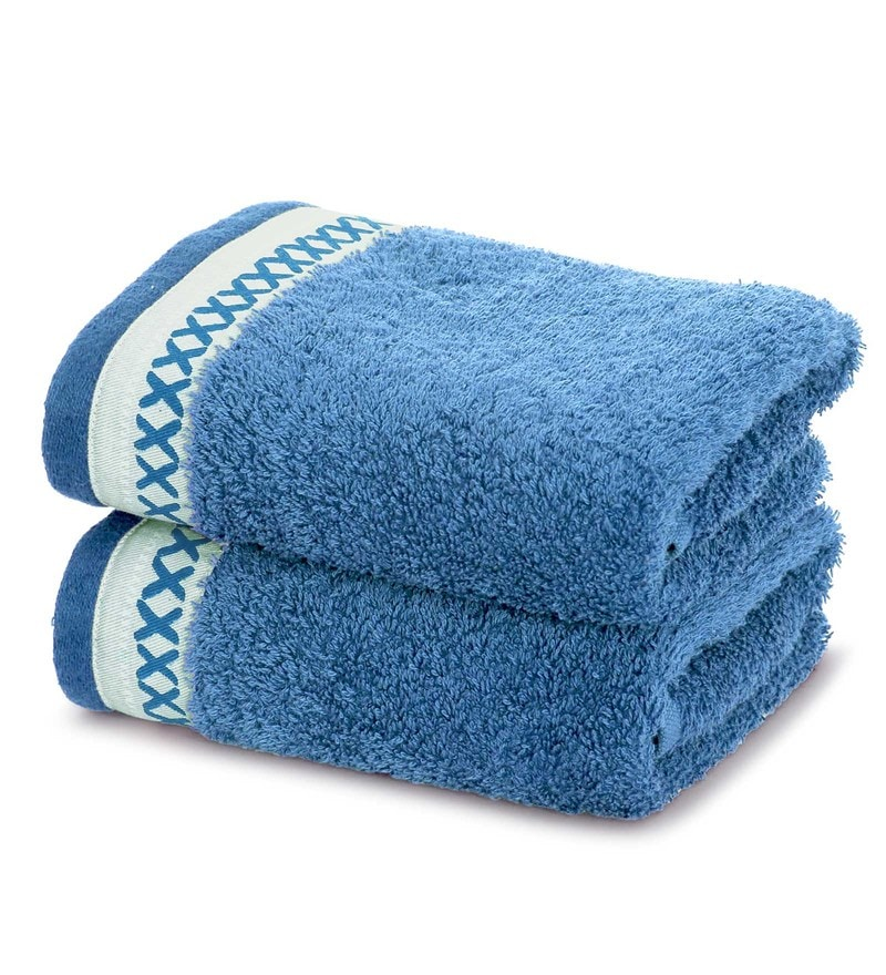 Maspar Blue 100% Cotton 16 x 28 Inch Carnival Prime Hand Towel