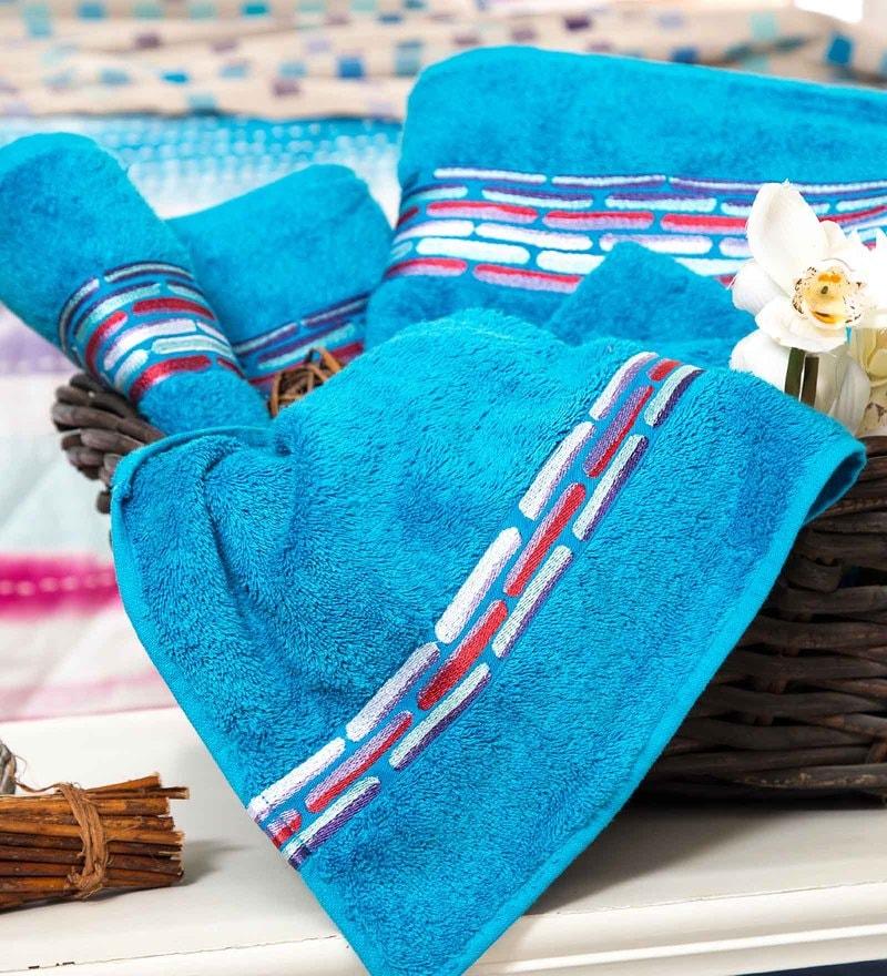 Maspar Blue 100% Cotton 16 x 28 Inch Waltz Bequiling Print Hand Towel